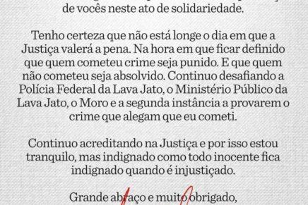 Em carta escrita na prisão, Lula diz que continua desafiando a Lava Jato