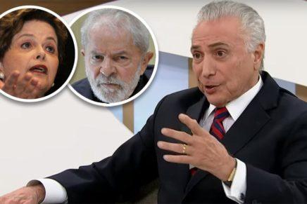 """Temer diz que foi """"golpe"""" contra Dilma e chama Lula de """"presidente"""""""